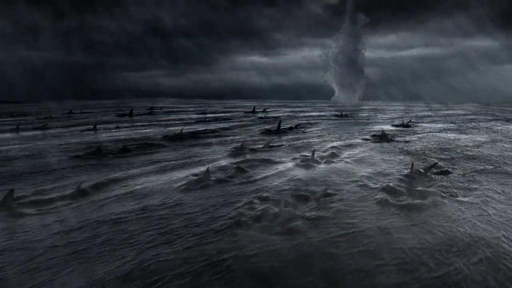Un momento molto importante del film, cioè quando Tornado stipula il patto di morte e distruzione con milioni di squali
